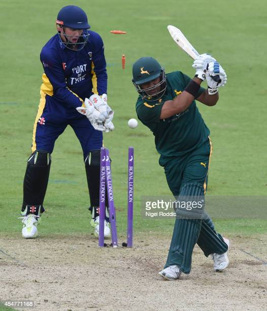 Samit Patel of Nottinghamshire survives being bowled out after the delivery from Paul Collingwood of Durham was called a no ball by the umpire during...