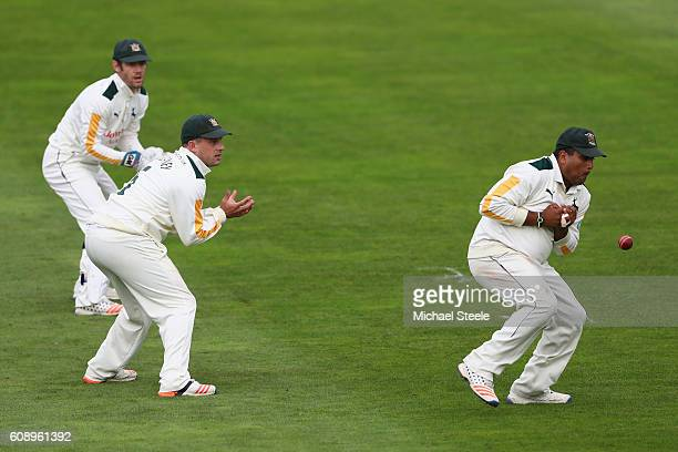 Samit Patel of Nottinghamshire watched by Steven Mullaney and wicketkeeper Chris Read drops a chance at second slip from Peter Trego of Somerset off...