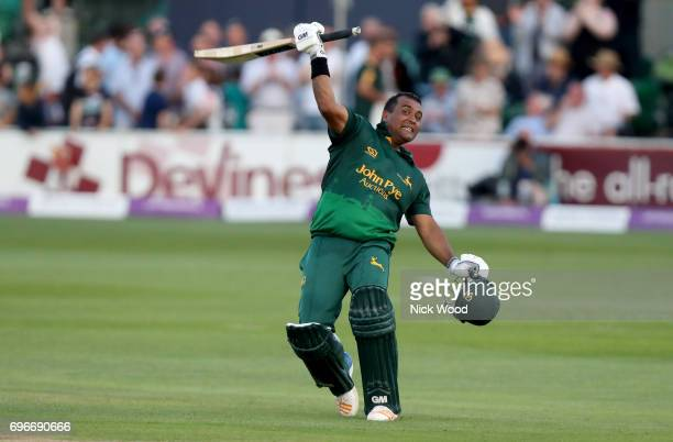 Samit Patel of Notts celebrates Notts winning the match during the Royal London OneDay Cup Semi Final between Essex and Notts at Cloudfm County...