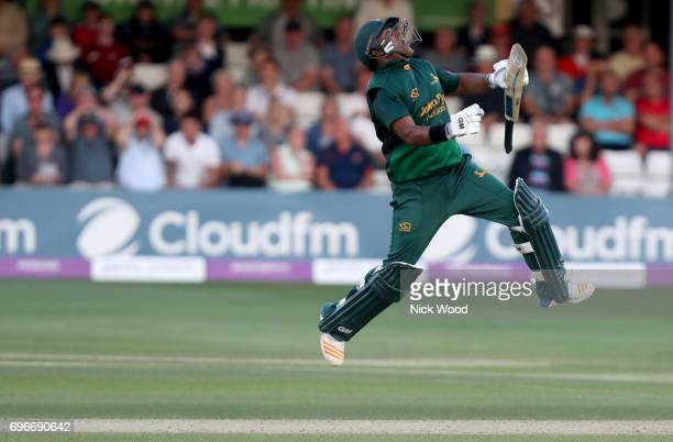 Samit Patel of Notts celebrates scoring the winning runs during the Royal London OneDay Cup Semi Final between Essex and Notts at Cloudfm County...