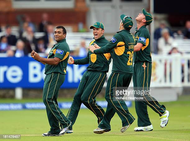 Samit Patel of Notts celebrates taking the wicket of Murray Goodwin of Glamorgan during the Yorkshire Bank 40 Final match between Glamorgan and...