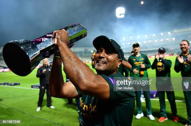 Samit Patel of Notts celebrates with the trophy following the NatWest T20 Blast Final between Birmingham Bears and Notts Outlaws at Edgbaston on...