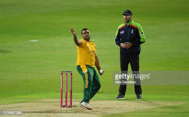 Samit Patel of Notts Outlaws bowls during the Vitality Blast 20 Final between Surrey and Notts Outlaws at Edgbaston on October 04 2020 in Birmingham...