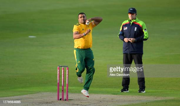 Samit Patel of Notts Outlaws bowls during the Vitality T20 Blast Semi Final between Notts Outlaws and Lancashire Lightning at Edgbaston on October 04...