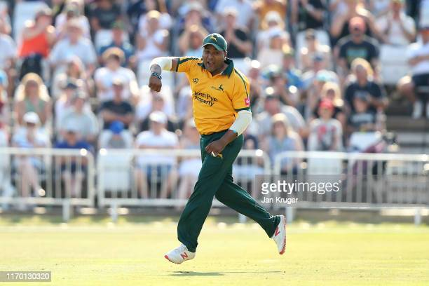Samit Patel of Notts Outlaws celebrates the run out of Tom Kohler-Cadmore of Yorkshire Vikings during the Vitality T20 Blast match between Notts...