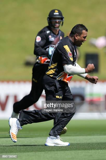 Samit Patel of the Firebirds celebrates after taking the wicket of Anton Devcich of the Knights during the Twenty20 Supersmash match between the...