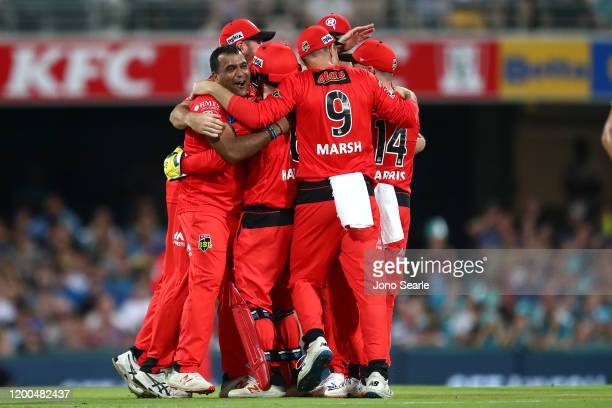 Samit Patel of the Renegades celebrates a wicket with team mates during the Big Bash League match between the Brisbane Heat and Melbourne Renegades...