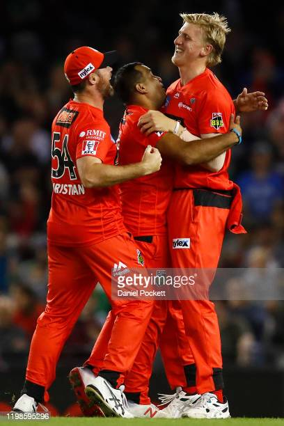 Samit Patel of the Renegades celebrates with Will Sutherland of the Renegades after combining to dismiss Marcus Stoinis of the Stars for a duck...