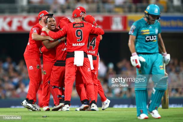 Samit Patel of the Renegades shouts at Joe Burns of the Heat after he was run out during the Big Bash League match between the Brisbane Heat and...