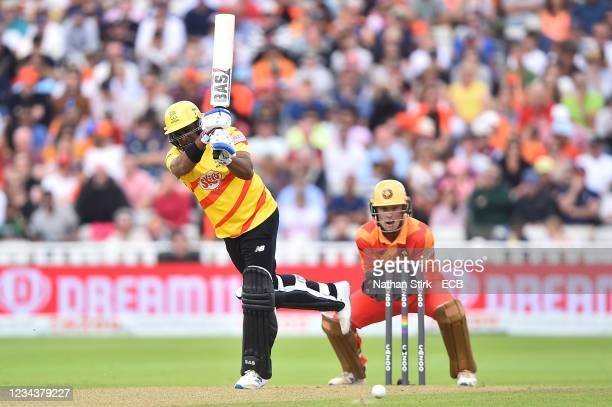 Samit Patel of the Trent Rockets in action during The Hundred match between Birmingham Phoenix Men and Trent Rockets Men at Edgbaston on August 01,...