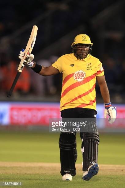 Samit Patel of Trent Rockets during The Hundred match between Welsh Fire Men and Trent Rockets Men at Sophia Gardens on August 06, 2021 in Cardiff,...