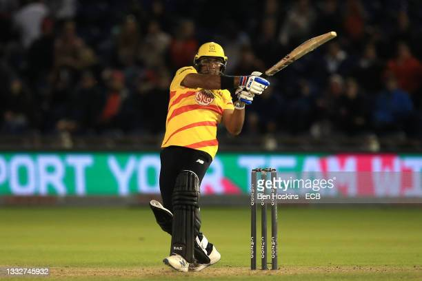 Samit Patel of Trent Rockets hits a boundary during The Hundred match between Welsh Fire Men and Trent Rockets Men at Sophia Gardens on August 06,...