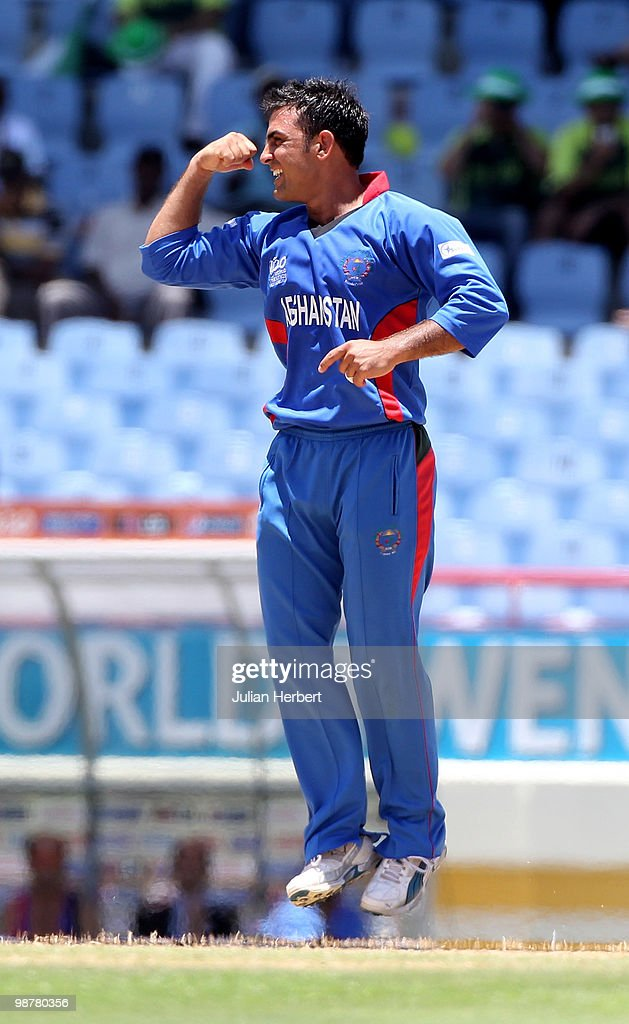 Samiullah Shenwari of Afghanistan celebrates the wicket of Suresh Raina during the ICC World Twenty20 Group A match between India and Afghanistan played at the Beausejour Cricket Ground on May 1, 2010 in Gros Islet, Saint Lucia.