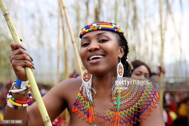 Samkeliwe Indoni Nzimande during the annual Umkhosi Womhlanga at Enyokeni Royal Palace on September 08 2018 in KwaNongoma South Africa The reed dance...