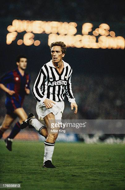 Sammarinese footballer Massimo Bonini of Juventus during a European Cup quarter final first leg match against Barcelona at Camp Nou Barcelona 5th...