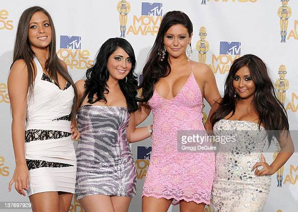 Sammi Sweetheart Giancola Angelina Jolie Pivarnick Jenni JWOWW Farley and Nicole 'Snookie' Polizzi in the press room at the 2010 MTV Movie Awards at...