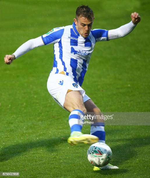 Sammie Szmodics of Colchester United during Carabao Cup First Round match between Colchester United and Aston Villa at Colchester Community Stadium...