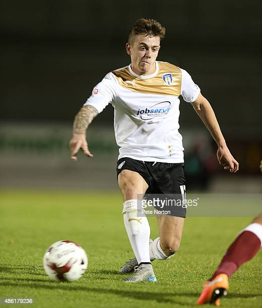 Sammie Szmodics of Colchester United in action during the Johnstone's Paint Trophy match between Northampton Town and Colchester United at Sixfields...