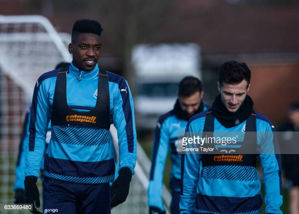 Sammy Ameobi and Jamie Sterry walk outside during the Newcastle United Training Session at The Newcastle United Training Centre on February 3 2017 in...