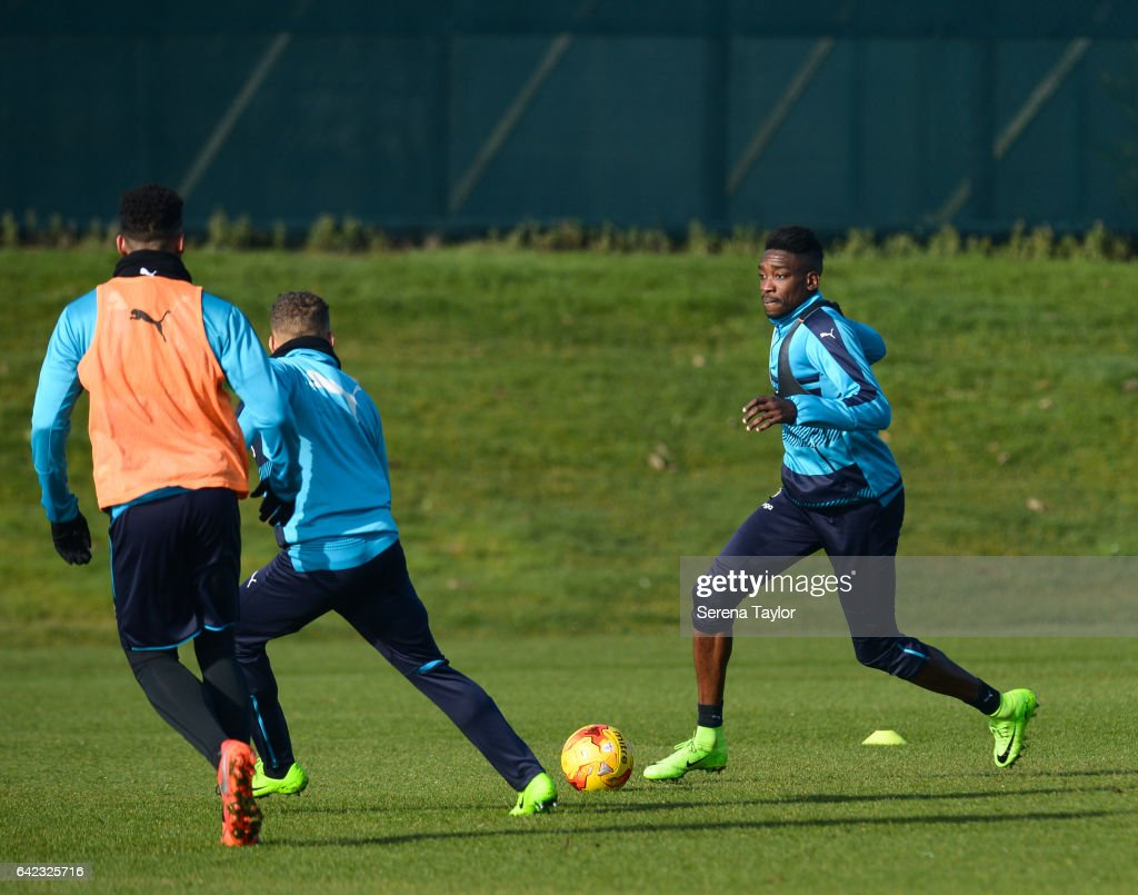Sammy Ameobi controls the ball during the Newcastle United Training Session at The Newcastle United Training Centre on February 17, 2017 in Newcastle upon Tyne, England.
