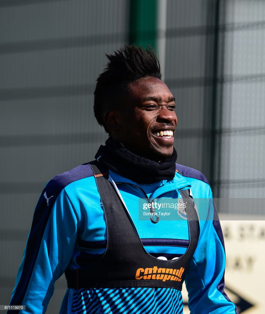 Sammy Ameobi laughs as he walks outside during the Newcastle United Training Session at the Newcastle United Training Ground on April 21, 2017 in Newcastle upon Tyne, England.