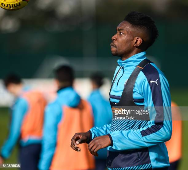 Sammy Ameobi looks at the ball during the Newcastle United Training Session at The Newcastle United Training Centre on February 17 2017 in Newcastle...
