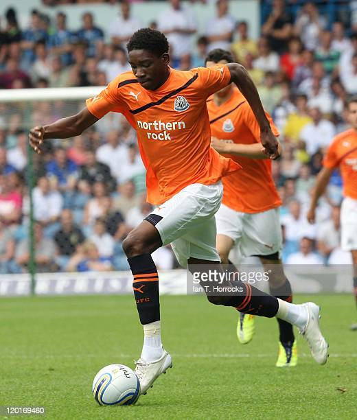 Sammy Ameobi of Newcastle runs with the ball during a Preseason friendly match between Leeds United and Newcastle United at the Elland Road on July...