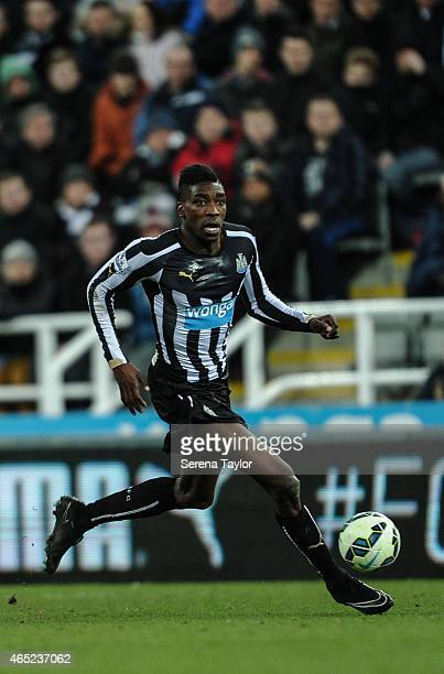Sammy Ameobi of Newcastle runs with the ball during the Barclays Premier League Match between Newcastle United and Manchester United at StJames' Park...