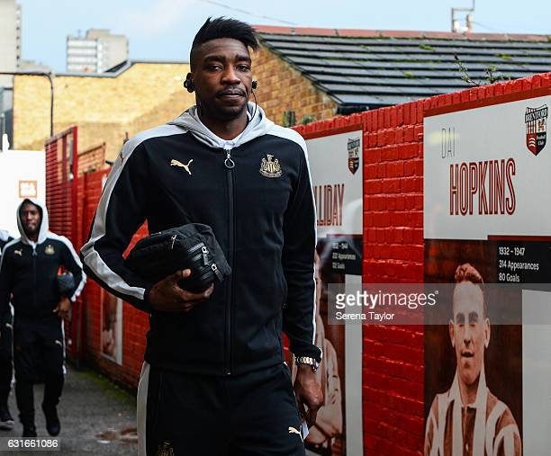 Sammy Ameobi of Newcastle United arrives to Griffin Park prior to kick off of the Sky Bet Championship match between Brentford and Newcastle United...
