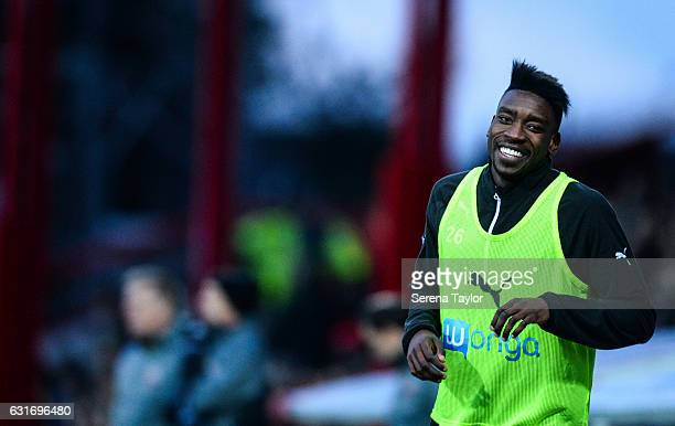 Sammy Ameobi of Newcastle United warms up during the Championship Match between Brentford and Newcastle United at Griffin Park on January 14 2017 in...