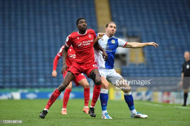 Sammy Ameobi of Nottingham Forest and Sam Gallagher of Blackburn Rovers during the Sky Bet Championship match between Blackburn Rovers and Nottingham...