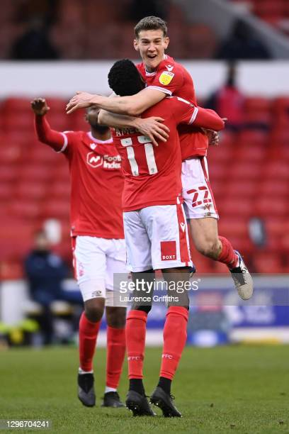 Sammy Ameobi of Nottingham Forest celebrates with team mate Ryan Yates after scoring their side's first goal during the Sky Bet Championship match...