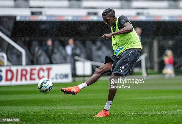 Sammy Ameobi strikes the ball during a Newcastle United Training Session at StJames Park on August 29 in Newcastle upon Tyne England