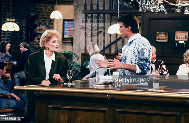 CHEERS Sammy and the Professor Episode 13 Air Date Pictured Alexis Smith asa Alice Anne Volkman Ted Danson as Sam Malone