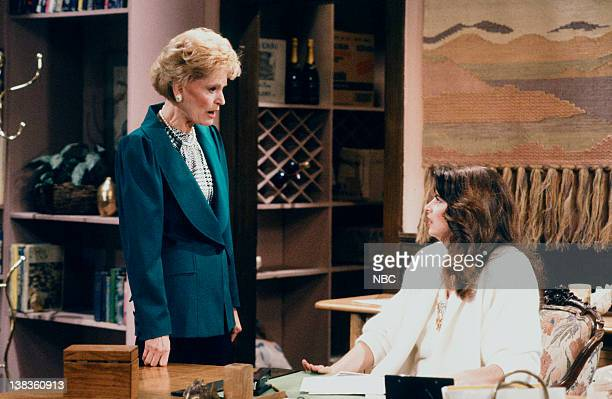 CHEERS 'Sammy and the Professor' Episode 13 Air Date Pictured Alexis Smith as Alice Anne Volkman Kirstie Alley as Rebecca Howe