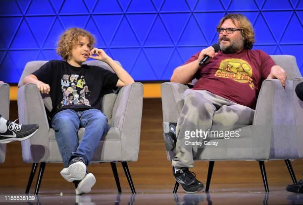 Sammy Black and Jack Black speak onstage at the Jablinski Games Live panel during E3 2019 at the Novo Theatre on June 12 2019 in Los Angeles...