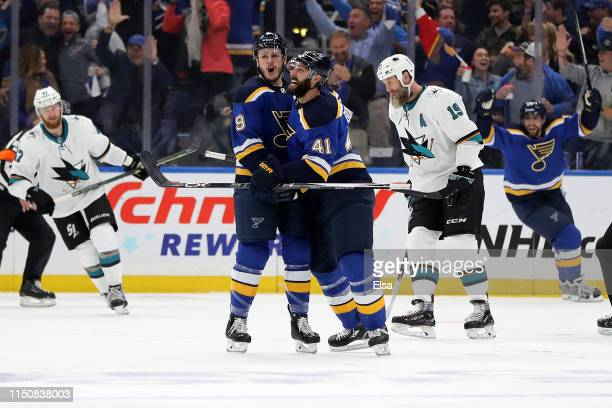 Sammy Blais of the St. Louis Blues celebrates with Robert Bortuzzo after scoring a goal on Martin Jones of the San Jose Sharks during the first...