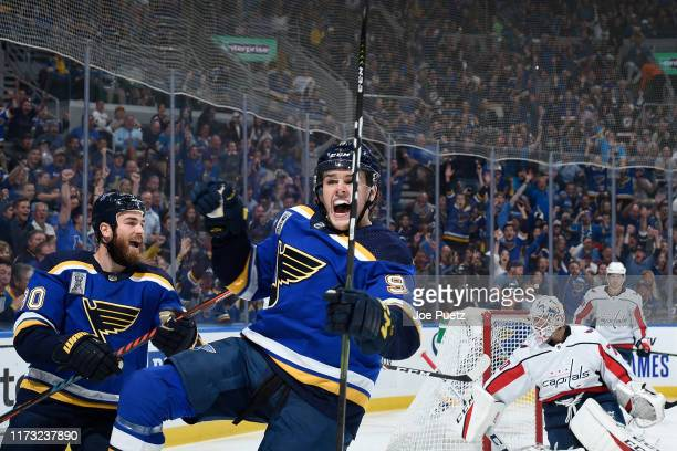 Sammy Blais of the St. Louis Blues reacts after scoring a goal against the Washington Capitals at Enterprise Center on October 2, 2019 in St. Louis,...