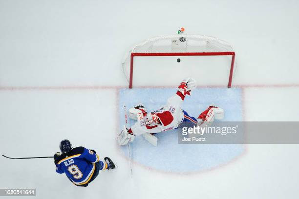 Sammy Blais of the St Louis Blues scores a goal past Carey Price of the Montreal Canadiens at Enterprise Center on January 10 2019 in St Louis...