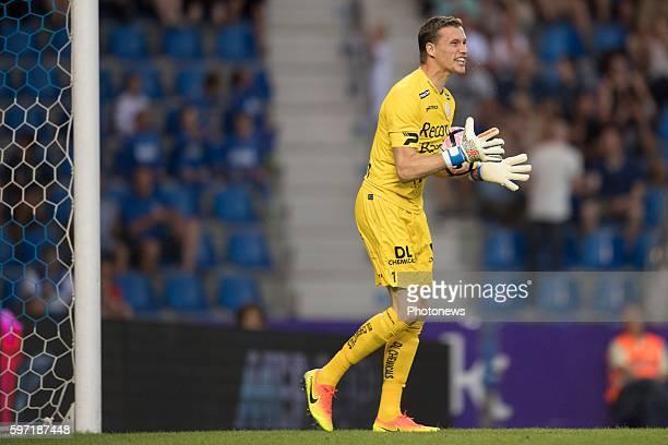 Sammy Bossut goalkeeper of SV Zulte Waregem pictured during the Jupiler Pro League match between KRC Genk and Zulte Waregem on August 28, 2016 in...