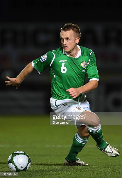 Sammy Clingan of Northern Ireland turns with the ball during the International Friendly between Northern Ireland and Hungary at Windsor Park on...
