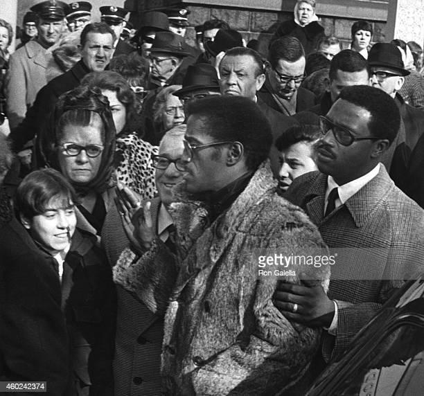 Sammy Davis Jr and Frank Sinatra attend Anthony Sinatra Funeral on January 26 1969 in Hoboken New Jersey