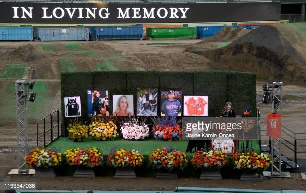 Sammy Forbath best friend of Alyssa Altobelli speaks at a memorial service honoring baseball coach John Altobelli his wife Keri and their daughter...