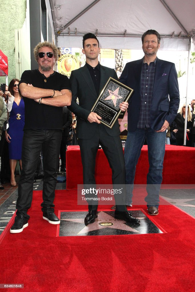 Sammy Hagar, Adam Levine and Blake Shelton attend a ceremony honoring Adam Levine with Star On The Hollywood Walk Of Fame on February 10, 2017 in Hollywood, California.