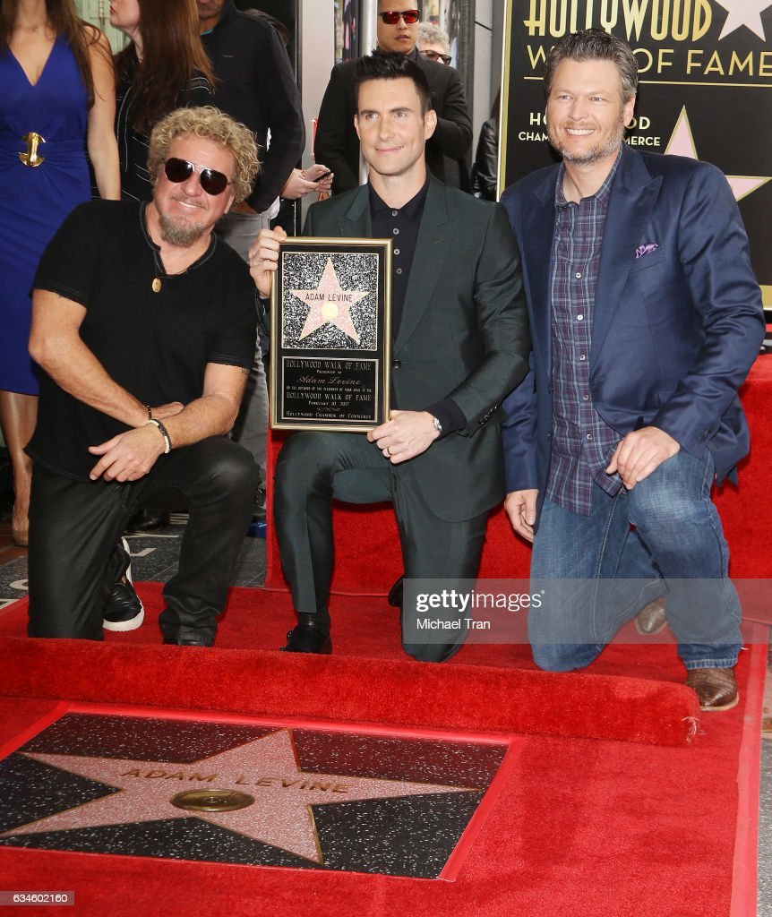 Sammy Hagar, Adam Levine and Blake Shelton attend the ceremony honoring Adam Levine with a Star on The Hollywood Walk of Fame held on February 10, 2017 in Hollywood, California.