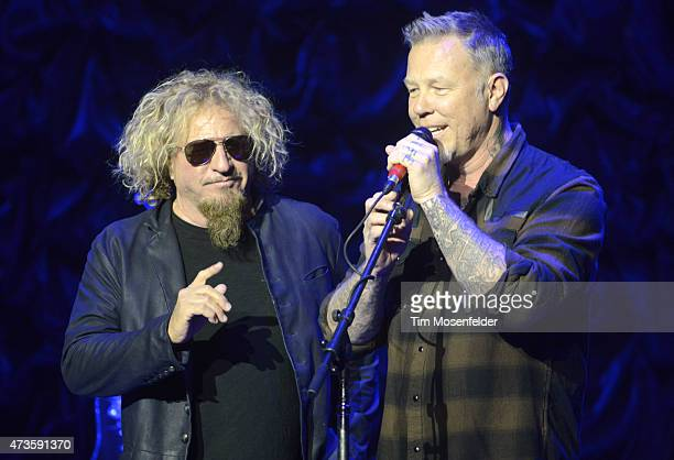 """Sammy Hagar and James Hetfield perform during the 2nd Annual """"Acoustic-4-A-Cure"""" Benefit Concert at The Masonic Auditorium on May 15, 2015 in San..."""
