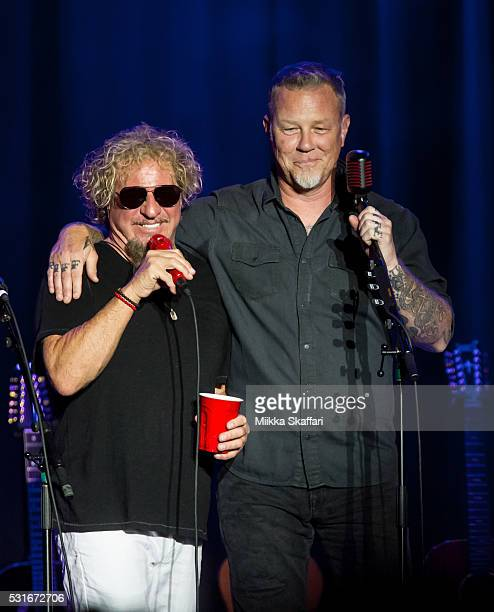Sammy Hagar and James Hetfield talk to the audience at 3rd annual Acoustic4aCure benefit concert at The Fillmore on May 15 2016 in San Francisco...