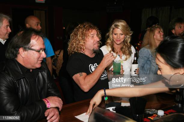 Sammy Hagar and Kari Hagar celebrate during Sammy Hagar Celebrates His Induction Into the Rock and Roll Hall of Fame with Cabo Wabo Uno Tequila at...