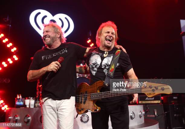Sammy Hagar and Michael Anthony perform on stage during iHeartRadio ICONS with Sammy Hagar and The Circle Inside The Making of Space Between at...