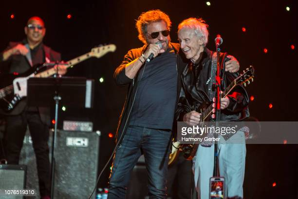 Sammy Hagar and Robby Krieger perform at Guitar Legends II presented by America Salutes You at The Novo by Microsoft on December 02 2018 in Los...